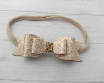 Pale Gold Large Double Layer Faux Leather Glitter  Bow Headband    - Newborn Baby to Adult - Hair Bows - Nylon Headband
