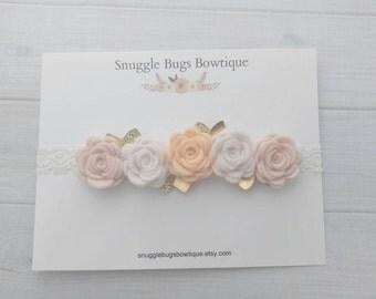 Peach, Wheat, Off-White and Gold Rose Garland Headband - Wool Felt Flower Headband- Shabby Chic Wedding- Flower Girl Headband