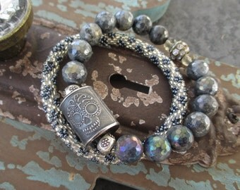Sugar skull 2 bracelet SET artisan sterling silver neutral gray grey semi precious stone Dia de los Muertos Day of the Dead by slashKnots
