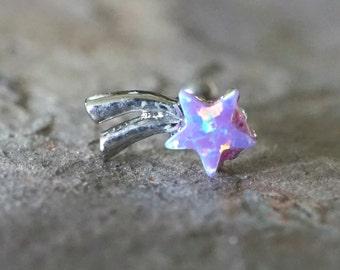 Purple Opal Tragus Earring Cartilage Earring Shooting Star