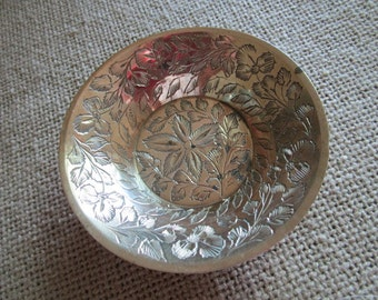 Engraved Solid Brass Dish    Trinket Dish    Small  Brass Bowl     Made in India