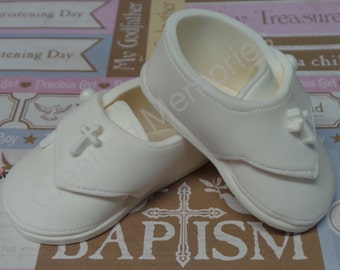 Baptism Fondant  baby shoes -boy or girl  Cake Topper Made of Vanilla Fondant boy or girls ready to place on your cake or table center piece