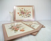 Vintage Pastel Floral Placemats Set of 4 Large Laminated Cork Board Mats by Pimpernel Made in England - Shabby Chic Cottage Decor Tableware