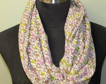 Pink, Yellow, Green Button/Circle Pattern  Infinity Scarf