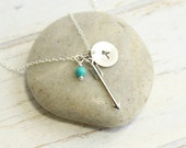 Sterling Silver Arrow Necklace with Your Choice of Initial and Birthstone