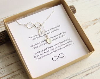 Sterling Silver Forever Inspiring Infinity Apple Lariat Necklace... Teacher Appreciation Sentiment Card