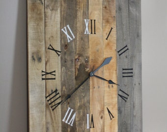 "Large RUSTIC modern FARMHOUSE Clock Rectangular 36"" by 26"" grey brown tan Natural Reclaimed Wood.  Wall Clock. 5 Year Anniversary Gift"