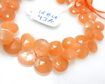 Peach Moonstone Briolette Faceted Heart Drops  Gemstone  Size - 10 tO 12MM Approx  8'' Full Strands Wholesale Price