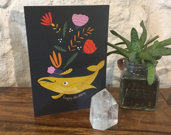 Monsieur Whale birthday blank greeting card