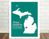 Michigan Wedding Gift Michigan Map Michigan Poster Michigan Print Housewarming Gift State Map Art Valentines Day Gift Christmas Gift for Him