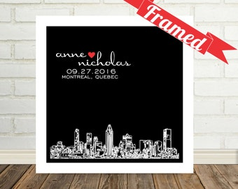Montreal Skyline Wedding Gifts Personalized Skyline Art FRAMED Print Montreal Quebec Any City Custom Wedding Gift  Valentines Day Gift