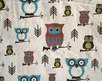 Hooty Village Natural Cotton Duck Fabric by the yard with Owls