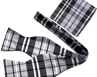Men's Plaid Black Gray White Self-Tie Bowtie and Handkerchief, for Formal Occasions