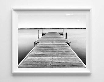 Minnesota Art Lake Bemidji Dock, Nautical Decor Beach Art, Black and White Beach Photograph - Large Wall Art Sizes Available - FREE SHIPPING