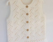 Ivory baby vest, Vest for girl knitting, winter trends