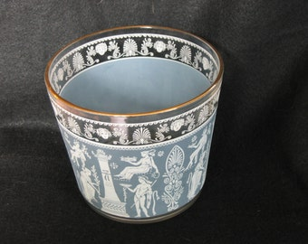 Jeanette Glass Hellenic Design Ice Bucket/Bowl in Blue.