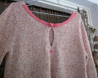Hand knitted Pullover Knit Sweater with Pink Trims & Buttons, Vintage - Large