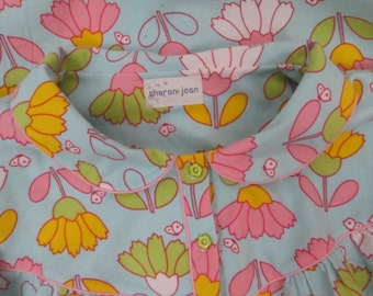 Handcrafted Womens Flannel Nightgown-Light Blue Big Tulips-Butterflies-Floral-100% USA Cotton-XL 1X 42-44 Bust