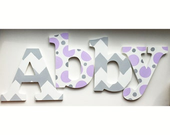 Chevron Lavender & Grey Wooden Wall Name Letters / Hangings, Hand Painted for Girls Rooms, Play Rooms and Nursery Rooms
