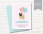Pink Girly Pug Dog Digital Birthday Party Invitation