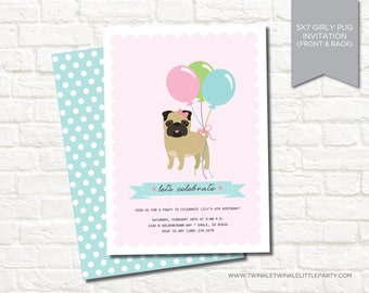Pink Girly Pug Dog Digital Birthday Party Invitation