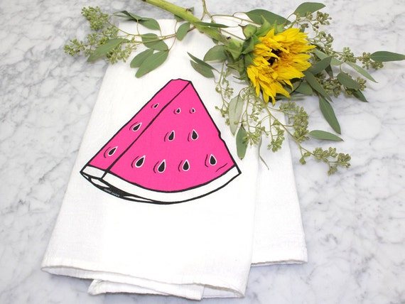 Flour Sack Dish Towel Summer Raspberry