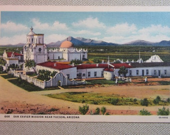 Vintage 1940's Postcard San Xavier Mission Near Tucson, Arizona