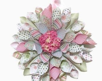Spring Wreath, Paper Wreath, Floral Wreath, Spring Paper Wreath, Indoor Wreath, Home Decor
