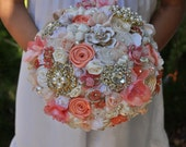 READY TO SHIP Coral brooch bouquet - brooch and fabric flower bouquet- Wedding Bouquet -Bridal Bouquet- Broach bouquet - Medium 8 inches