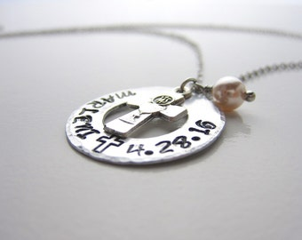 Personalized Washer Stamped, Baptism, Confirmation Necklace, Blessed sacrament charm, Cross charm, Birth month pearl