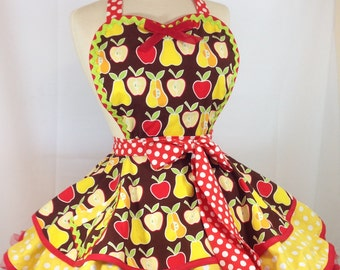 Retro Apron, Apples and Pears Pin Up Apron - Ready To ship, Woman's Apron