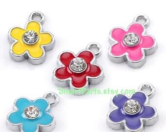 BULK 20 Enamel and Silver Metal RHINESTONE FLOWER Charm Pendants mixed colors che0017