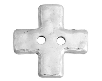 10 Hammered Silver Metal MALTESE CROSS Buttons, Sew Through Buttons for Jewelry Making, Scrapbooking, Sewing, 20x20mm, but0258