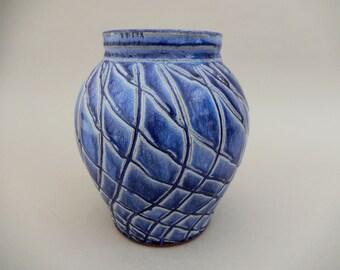Blue Pottery Vase - Hand Carved Royal Blue Glazed Terracotta, Wide Mouth Vase