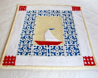 Baby sailboat quilt, SAIL AWAY, 31.5 X 37.5 inches, baby shower gift, new baby gift, baby room decor, nautical nursery decor, blanket
