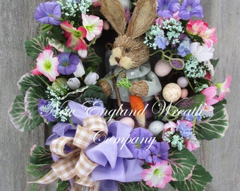 Easter Wreath, Spring Wreath, Easter Bunny Wreath, Easter Egg Wreath, Designer Wreath, Garden Wreath, Spring Floral Wreath, Whimsical Easter