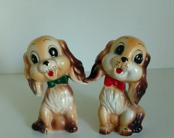 Adorable Kitsch Puppy Salt and Pepper Shaker - Japan