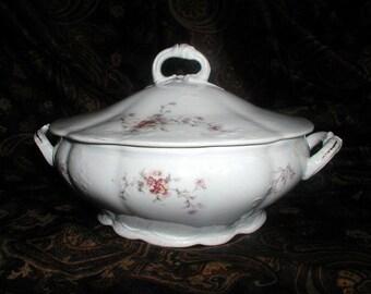 Antique Covered Casserole Tureen Karlsbad Austria Vintage Victorian Formal Serving Bowl Floral Porcelain Tableware