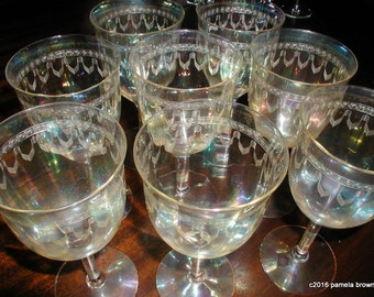 Vintage Fostoria LENORE Iridescent Wine Water Goblets Set of 4 Late Edwardian Etched Glass Stemware