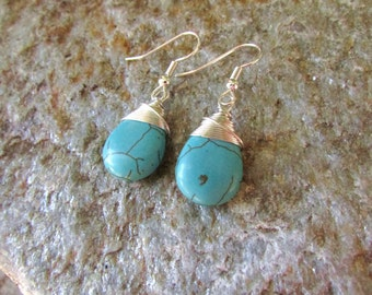 Turquoise Earrings smooth magnesite teardrop gemstone silver wire wrapped