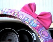 Steering Wheel Cover Bow - Limited Edition Hello Kitty Steering Wheel Cover with Light Pink Bow, Hello Kitty Pastel Wheel Cover Pink BF11051