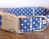 Navy Chambray Polka Dot Dog Collar, Girly Dog Collar, Boy Dog Collar