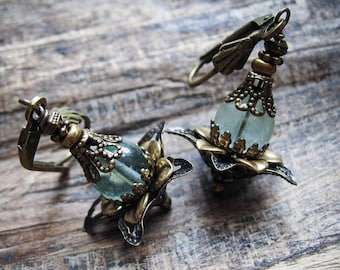 Flourite Genie Bottles. Victorian Inspired Fairy Earrings