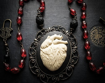 The Tell Tale Heart, Ivory Anatomical Heart Cameo on a Vintage Rosary Chain