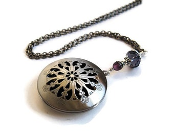 Gothic Perfume Locket in Antique Silver. Victorian Filigree Aromatherapy Locket in Custom Colours