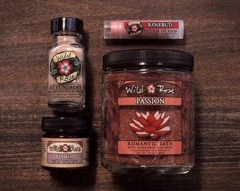 Spa Gift Set ROMANCE Collection - Bath Salts, Facial Mask, Massage Rub and Lip Balm