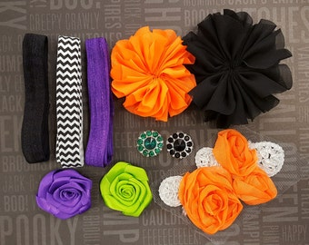 Fright Night Headband & Hair Clip Starter Kit - Coordinating Elastic and Flowers to create Halloween hair accessories
