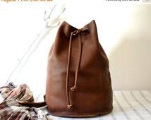 WINTER SALE Leather Bucket Backpack, Cognac Tan Leather Backpack, Leather Rucksack Women's Men's Leather Bucket Bag, Leather Weekender Bag,
