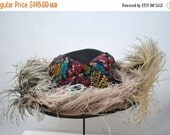 Sale Edwardian Straw Hat with Ostrich Feathers