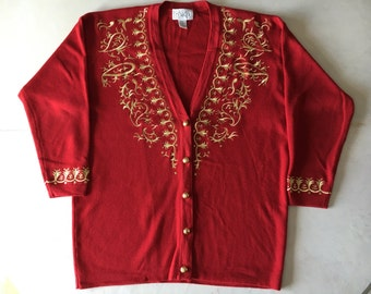 Vintage Lannister Red Cardigan with Gold Brocade // Ugly Christmas Sweater